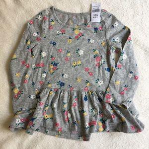 NWT Baby Gap Gray Cotton Floral Long Sleeves Dress